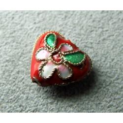 Perle Cloisonnée coeur 12x10mm Rouge (x1)