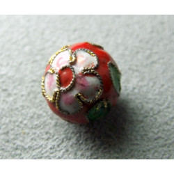 Perle Cloisonnée ronde 12mm Rouge (x1)