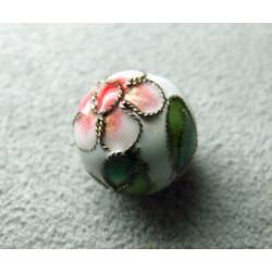 Perle Cloisonnée ronde 12mm Blanc (x1)