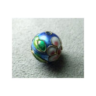 Perle Cloisonnée ronde 12mm Bleu (x1)