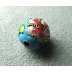 Perle Cloisonnée ronde 12mm Turquoise (x1)