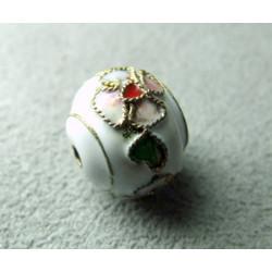 Perle Cloisonnée donut 12x10mm Blanc (x1)