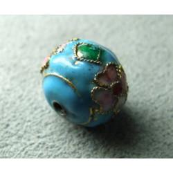 Perle Cloisonnée donut 12x10mm Turquoise (x1)