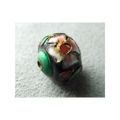 Perle Cloisonnée donut 12x10mm Noir/Vert (x1)