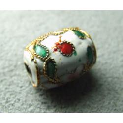 Perle Cloisonnée tonneau 12x10mm Blanc (x1)