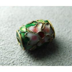 Perle Cloisonnée tonneau 12x10mm Vert (x1)