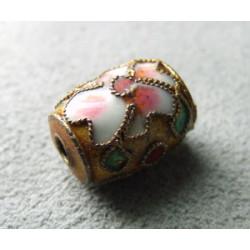 Perle Cloisonnée tonneau 12x10mm Dore (x1)