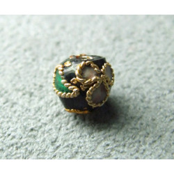 Perle Cloisonnée ronde 6mm Noir motif en relief (x1)