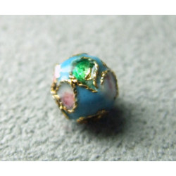 Perle Cloisonnée ronde 6mm Turquoise motif en relief (x1)
