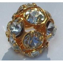 Boule Strass Cristal Doré 10mm (x1)