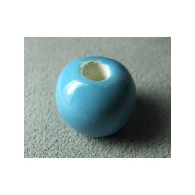 Perles en céramique boule 16mm Bleu (x1)
