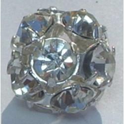 Boule Strass Cristal Argent 10mm (x1)