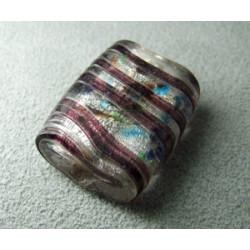 Perle en pâte de verre palet rectangle approx. 25x20mm épaisseur 10mm - Cristal confettis lignes Amethyst (x1)