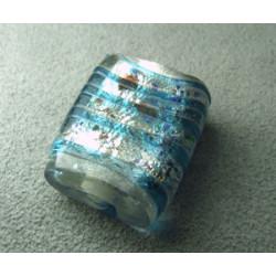Perle en pâte de verre palet rectangle approx. 25x20mm épaisseur 10mm - Cristal confettis lignes Aqua (x1)