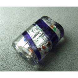 Perle en pâte de verre palet rectangle approx. 25x20mm épaisseur 10mm - Cristal confettis lignes Colbalt (x1)