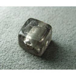 Perle en pâte de verre cube 10mm - Smoke (x1)