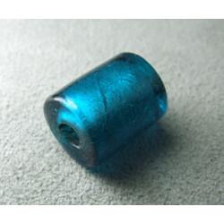 Perle en pâte de verre cylindre approx. 15x12mm - Teal (x1)