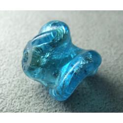 Perle en pâte de verre spirale approx. 20mm - Aquamarine (x1)