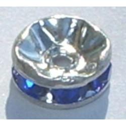 Rondelle strass 6mm Saphir Argent (x1)