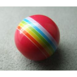 Perle synthétique boule 18mm Rouge rayée couleurs (x1)