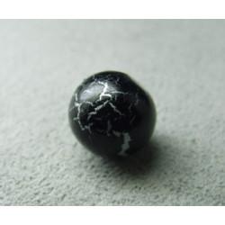 Perle synthétique boule 9mm - Noir/Argent (x10)