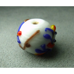 Perle à la lampe motifs végétaux en relief approx. 16mm - Blanc (x1)