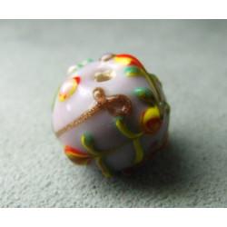 Perle à la lampe motifs végétaux en relief approx. 16mm - Parme (x1)