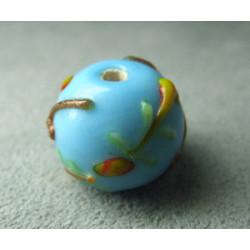Perle à la lampe motifs végétaux en relief approx. 16mm - Ciel (x1)