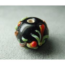 Perle à la lampe motifs végétaux en relief approx. 16mm - Noir (x1)