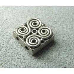 Perle intercalaire carré 2 rangs 12mm - argenté (x1)