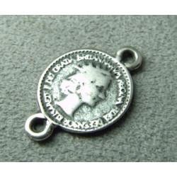 Perle intercalaire pièce 21x14mm - argenté (x1)