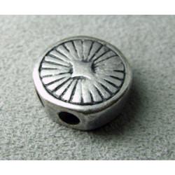 Perle intercalaire rond 2 rangs 16mm trous 3mm - argenté (x1)