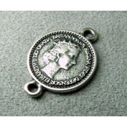 Perle intercalaire pièce 2 faces 27x19mm - argenté (x1)