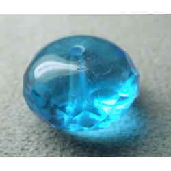 Donut en verre de Chine 17x11mm - Aquamarine (x1)