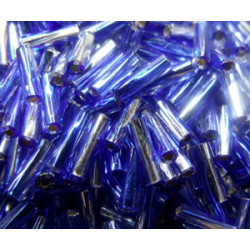 BGL-6TW-3934 Bugles Twistés Miyuki 6mm S/L Clear Cobalt (x boite de 10gr)