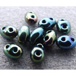 Twin Beads 2,5X5mm Jet Iris Teal (x sachet de 25gr env.)