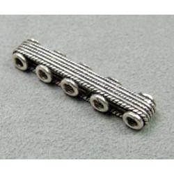 Perle intercalaire barrette 5 rangs 40x8mm - argenté (x1)