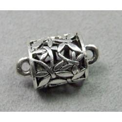 Perle métallisée tonneau 15mm argenté (x1)