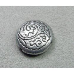 Perle intercalaire en résine disque 18mm - argenté (x1)