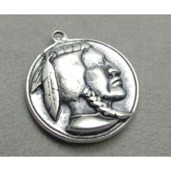 Breloque Argenté Médaille tête d'indien 35mm (x1)