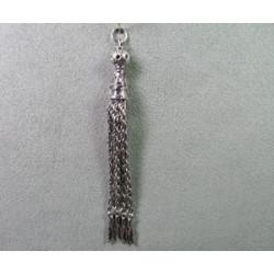Pampille plumes 85mm argenté (x1)