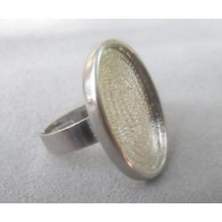 Baque plateau Ovale 25X18mm rhodié(X1)