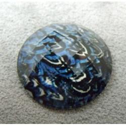 Cabochon en Résine Zebre Approx 24mm Bleu Fonce (X1)