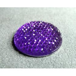 Cabochon en Résine Strass Approx 24mm Violet Fonce (X1)