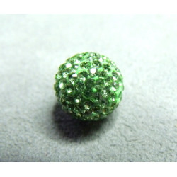 Perle strass pour Shamballa Péridot Résine 12mm (X1)