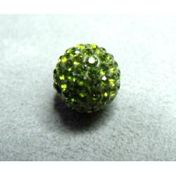 Perle strass pour Shamballa Olivine Résine 12mm (X1)
