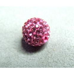 Perle strass pour Shamballa Rose Résine 12mm (X1)