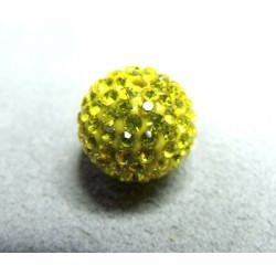 Perle strass pour Shamballa Lime Résine 12mm (X1)