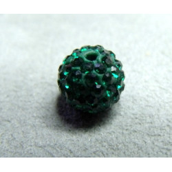 Perle strass pour Shamballa Emeraude Résine 10mm (X1)