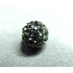 Perle strass pour Shamballa Gris Résine 12mm (X1)
